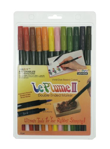 Uchida Of America Le Plume II Double-Ended Markers with Brush and Fine Tips Art Supplies, 12, Garden