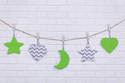 Amilian® Hängedeko Stern Herz Mond 5 Stück Design30 Wanddeko Anhängsel Gehänge Baby für Kinderbett NEU