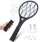 YISSVIC Raquette Anti-moustiques Électrique 3800V Rechargeable USB Poignée Détachable Éclairage LED Contre Moustiques et Autres Insectes Volants