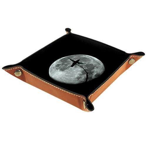 MEITD Bandeja de cuero con diseño de cuervo negro para guardar joyas, caja de dados, bandeja para mesita de noche, llavero, teléfono, cambio de monedas, bandeja para entrada