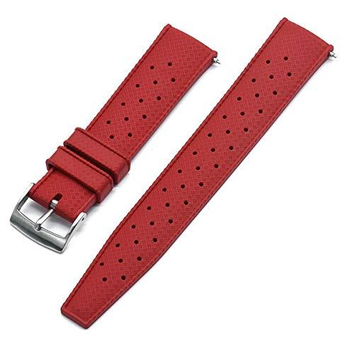 LIANYG Correa De Reloj Correa de Reloj de Goma de Grado Premium 20 mm 22 mm Reloj de Reloj Buceo Buceo Impermeable Pulsera Color Negro (Band Color : Red New, Band Width : 22mm)