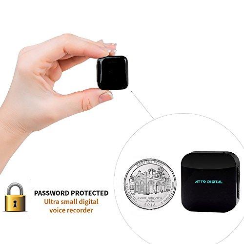 ATTO-16GB Extra Pequeño HQ Módulo Espía Activado por Voz - Grabador de Voz Digital con contraseña de archivos protegidos - 16GB / 1140 horas de capacidad - 24h de duración