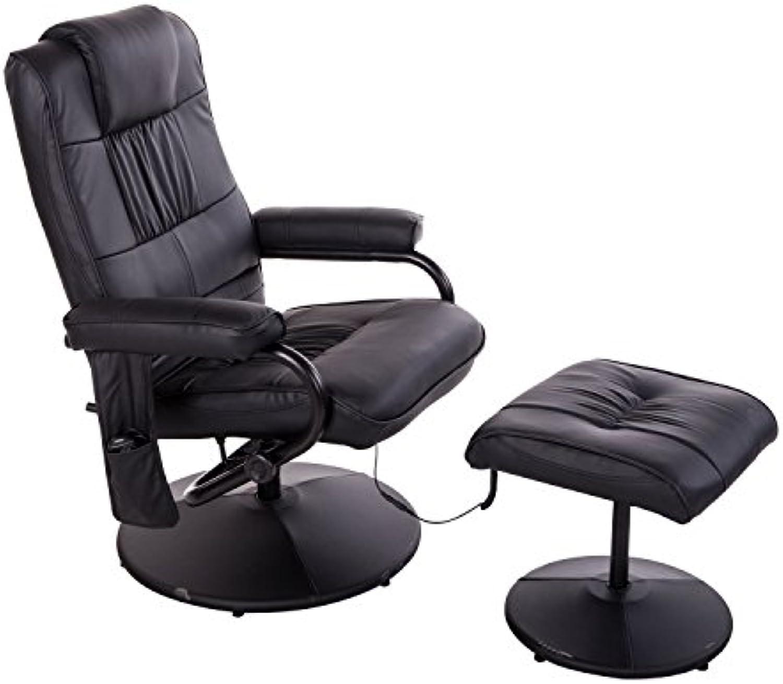 Homcom 921-006BK Massagesessel, Lederimitat, schwarz, 77 x 73 x 95 cm
