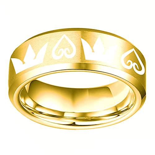 Anillo de acero inoxidable con forma de corazón de King's Anillo de anime de acero titanio para parejas, anillo de boda pulido, anillo de plata para hombres y niños, 7 amarillo