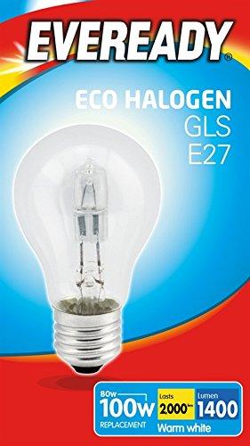 Eveready ECO Halogen GLS A-Shape Light Bulb, E27, 77 W
