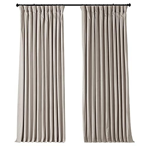 HPD Half Price Drapes VPCH-VET1217-84 Signature Extra Wide Velvet Blackout Curtain (1 Panel), 100 X 84, Ivory