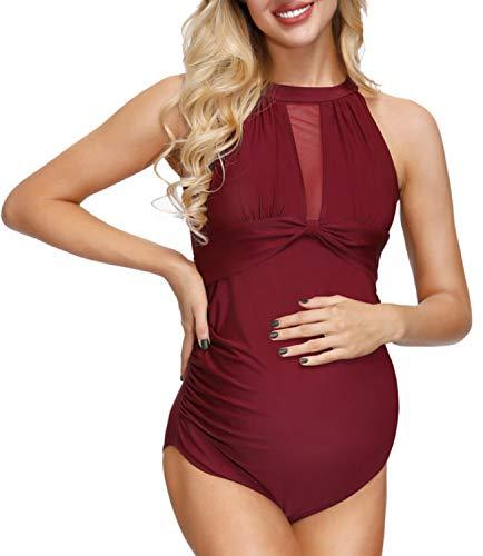 Women's Maternity Swimsuit Solid Padded Swimwear Beachwear Wine