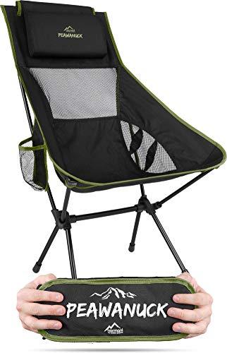 Ultraleichter klappbarer Campingstuhl mit Langer Rückenlehne und Kissen Outdoorstuhl Strandstuhl Reisestuhl Anglerstuhl - nur 995g! Traglast 150kg (330 lbs) Farbe Oliv