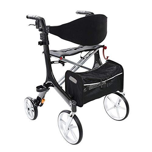 Besco Medical Faltbarer Leichtgewicht-Rollator Carbon, besonders leicht (4,8 kg) und stabil, klappbar, mit Tasche, abnehmbaren Gurt und großer Sitzfläche