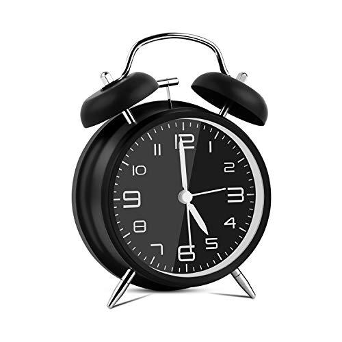 Vegena Doppelglockenwecker mit Nachtlicht, Retro Wecker Analog Quarzlaufwerk Kinder Wecker Glockenenwecker Batteriebetrieben mit 4 Zoll Großes Zifferblatt Lautem Alarm Geräuschlos Kein Ticken Schwarz