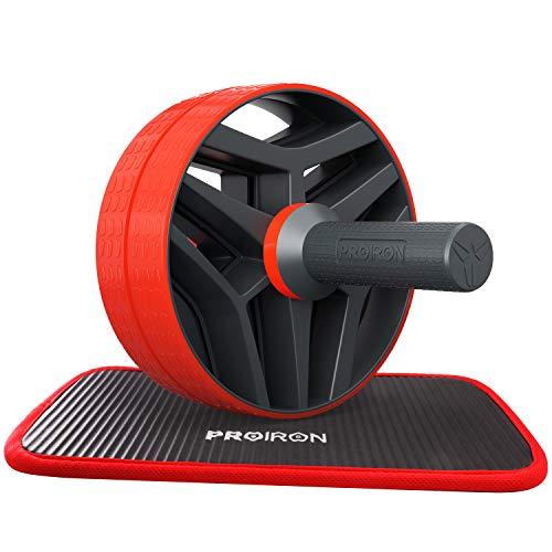 PROIRON AB Roller Classic Bauchtrainer mit Knieauflage Bauchroller mit Komfortgriffen Bauchmuskeltrainer AB Wheel für Fitness Bauchmuskeltraining und Muskelaufbau, für Frauen und Männer