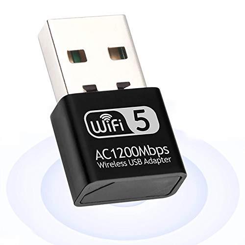 Adaptador inalámbrico USB 1200 Mbps, adaptador Wifi de inalámbrica de doble banda 2,4 GHz/5 GHz para PC de escritorio y portátil receptor Wifi compatible con Windows 10/8.1/8/7/XP/Mac OS 10.9-