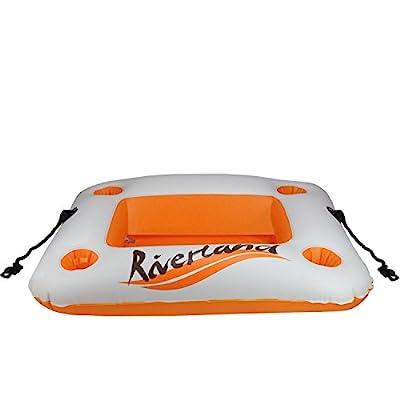 "Pool Central 29"" Orange and White ""Riverland"" Inflatable Cooler and Beverage Holder"