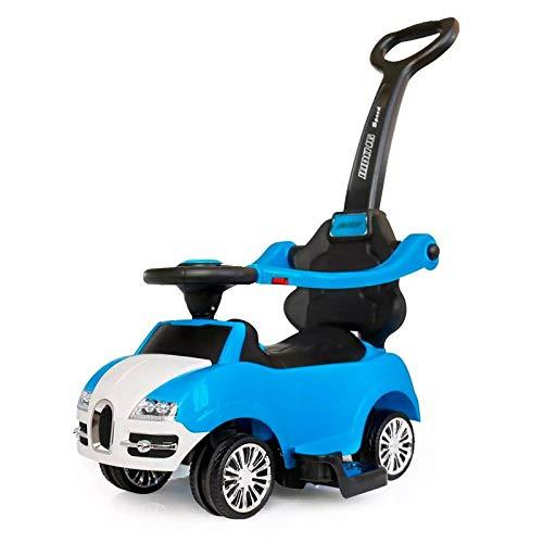 AQD, Auto a Spinta 3 in 1, con Suono del clacsono, Barra di Spinta per Genitori, 4 Ruote, barriera di Sicurezza, vano portaoggetti, Passeggino Convertibile per Bambini Blue