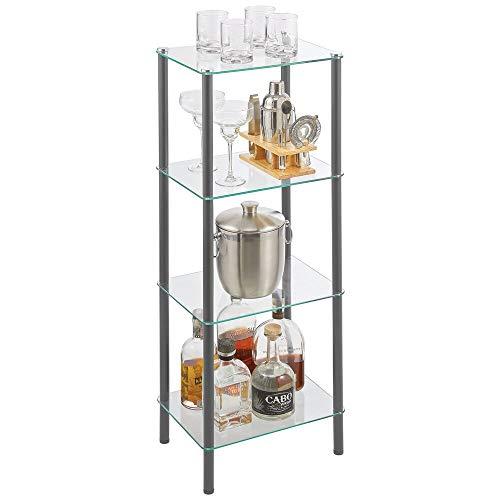 mDesign Estante de pie con 4 baldas – Estante de metal y cristal de diseño moderno – Compacta estantería decorativa para baño, despacho, dormitorio o salón – gris oscuro y transparente