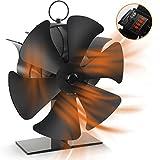 Ventilador Estufa Silencioso 6 Páginas, Ventilador de Chimenea con Termómetro y Pantalla Digital de Control de Temperatura, Distribución Eficiente del Calor Para Estufas, Estufas de Leña y Chimeneas