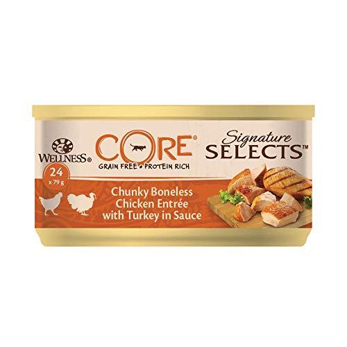 Wellness CORE Signature Selects / Katzenfutter Nass / Getreidefrei / Hoher Fleischanteil / Chunky, Huhn & Pute in Sauce, 24 x 79 g Dosen
