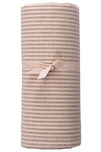 HomeLife - Telo Arredo Copridivano a Righe – Lenzuolo Copritutto Multiuso in Cotone – Granfoulard Copriletto per Letto Singolo [160 X280] - Beige – Made in Italy
