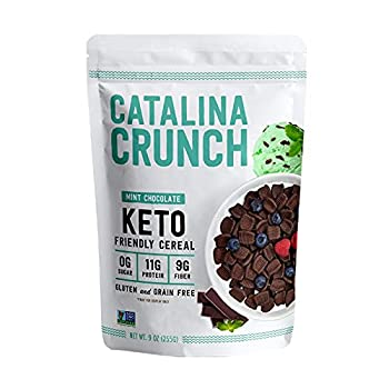 Catalina Crunch Mint Chocolate Chip Keto Cereal  9oz Bag    Low Carb Sugar Free Gluten Free Grain Free   Keto Snacks Vegan Plant Based Protein   Breakfast Cereal   Keto Friendly