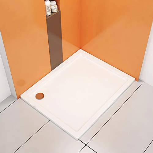 Nuie Bathroom Rectangular 1100 x 900mm Shower Tray with Riser Kit Plinth for Shower Enclosure Gloss White Slimline Stone Resin