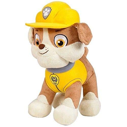 Peluche compatible con la Patrulla Canina, 1 x peluche para niños de 19 cm, serie de televisión | peluche | regalo para niños | niñas | niño | (Rubble)