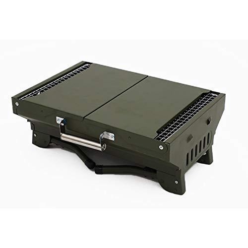 41 z2ASGqyL. SL500  - WENYOG BBQ Grill Mini-zusammenklappbarer tragbarer Grill-Camping im Freiengrill-Ständer-Klappkohle-BBQ-Grillgitter-Grillzubehör Werkzeuge Faltbarer Grill (Color : Green Grill)
