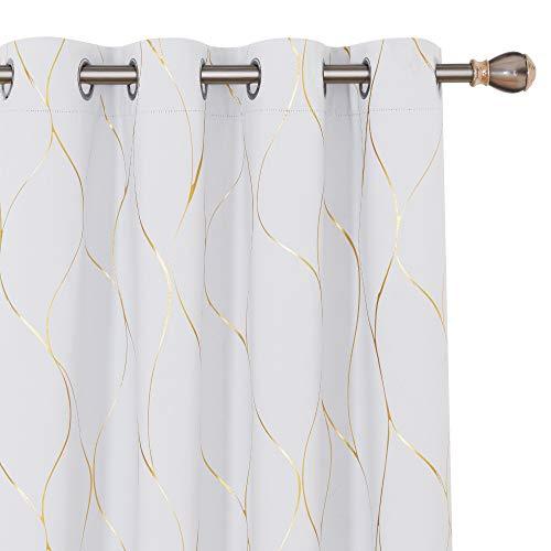 Deconovo Cortinas Opacas Diseño de Rayas Bronceadas para habitación con Ojales 2 Piezas 117 x 138 cm Gris Blanco