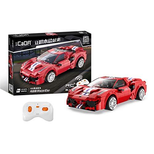 Elroy369Lion CADA Technic - Cochecito deportivo de ladrillo para Ferrari488, 2,4 G RC, mando a distancia para coche, bloques de construcción compatibles con Lego (306 unidades)