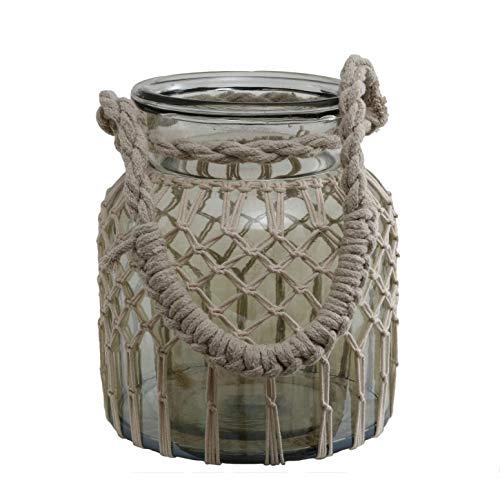 PTMD Windlicht Vase Ferrell Glas Makramee mit Henkel - Maße: 23.0 x 19.0 x 19.0 cm