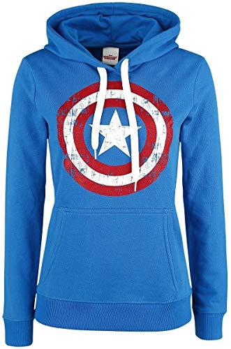 Capitán América Sudadera con Capucha para Mujer Logo Distressed Marvel Cotton Blue - S