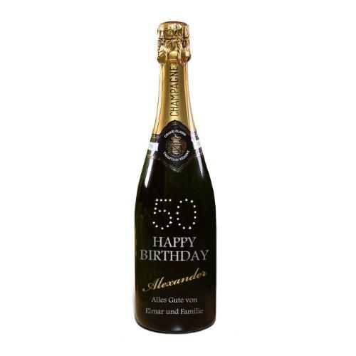 privat Sekt Champagner zum 50. Geburtstag - mit Namen & Text - MADE WITH SWAROVSKI® ELEMENTS - 750ml