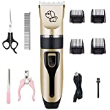 Kartice Dog Clippers, Rechargeable Low Noise Cordless Electric Dog Clippers, Dog Grooming Trimmer Pet Hair Clippers Kit with Comb Nail Kits Scissors for Dogs Cats