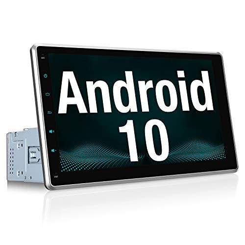 """Vanku Android 10 Autoradio GPS Navegación con 10.1"""" IPS Pantalla Ajustable, 1 DIN Radio de Coche Soporte Bluetooth, Control Volante, WiFi, USB, SD, Mirror-Link, 4G"""