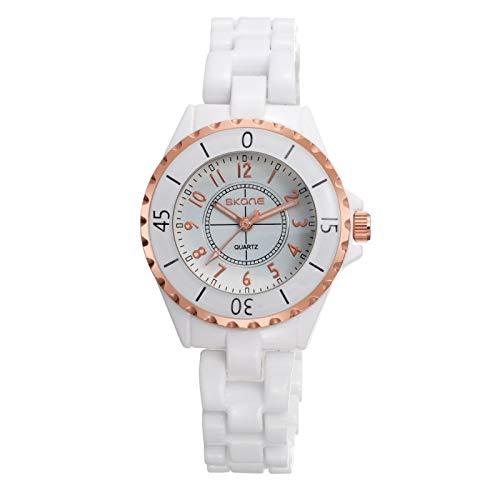CXJC Reloj de cerámica blanca de las señoras de la moda, reloj femenino femenino 3ATM, shi ying, oro, oro, oro, oro, dos colores disponibles (Color : Si)