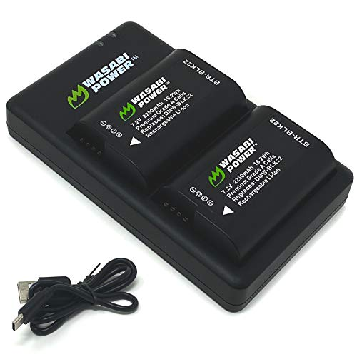 Wasabi Power Battery (2-Pack) and USB-C Dual Battery Charger for a Panasonic DMW-BLK22 High Capacity Battery and Panasonic Lumix DC-S5 Digital Cameras, Panasonic Lumix GH5 II, and Lumix DC-S5KK