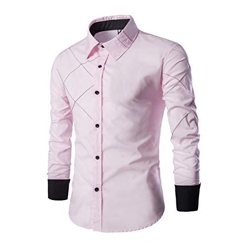Tendencia de Costura para Hombres Camisas clásicas Moda Diseño de línea a Cuadros Ropa de Calle Camisas Casuales de Manga Larga Primavera y otoño XXL