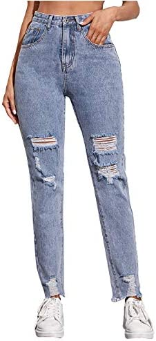 SOLY HUX Women s Ripped Raw Hem Jeans Casual High Waisted Denim Pants Blue S product image