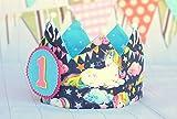 Corona cumpleaños niña unicornio, corona de tela reversible para fiestas infantiles, adorno de pelo niñas