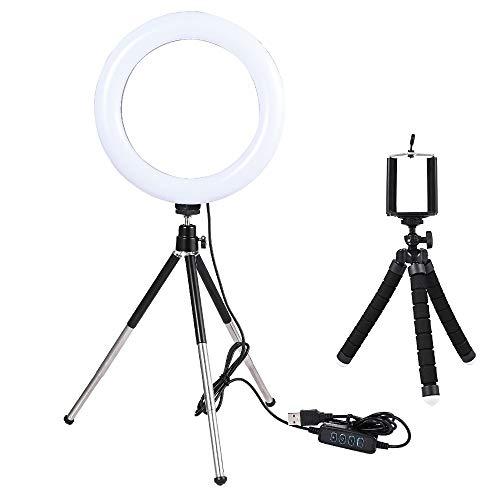 Mini Lámpara de Selfie de Video de Video de Escritorio LED con trípode Stand USB Enchufe para Youtube Live Photo Tiktok Photography Studio para Youtube Video TikTok (Color : Light Grey)