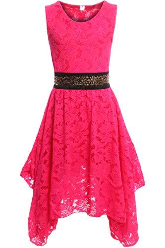 GILLSONZ PK500 vDa Mädchen fest Kommunions Hochzeit Kinder festlich Party Kleid Gr.122-176 (158/164, Pink)