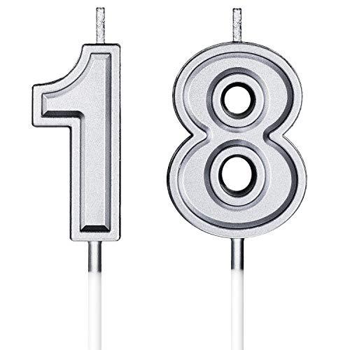 Velas de Cumpleaños 18 Velas de Numeros de Pastel Topper Decoración de Pastel de Feliz Cumpleaños para Cumpleaños Boda Aniversario Celebración (Plata)