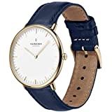 Nordgreen Native Scandinavian Gold Unisex Analog 36mm Watch with Navy Leather Strap 10085