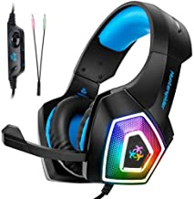 Pro Gaming Headset Headphone for Laptop PlayStation4/PS4 Slim/PS4 Pro/Xbox ONE S/X 3.5mm LED Mic Hunterspider V1 Wired Gaming Headset 7 Color LED Lights
