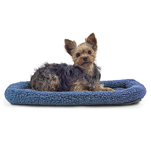 Furhaven Pet Dog Bed Kennel Pad - Faux Lambswool and Sherpa Crate or Kennel Mat Bolster Pet Bed for Dogs and Cats, Blue, Extra Small