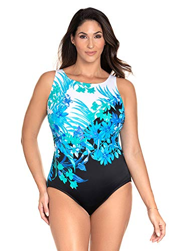 Longitude Women's Swimwear Scenic Route Panel Scoopback Highneck Soft Cup Long Torso One Piece Swimsuit, Blue, 12