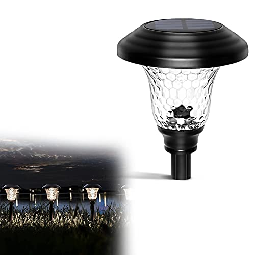 Luces Solares LED Jardín, IP44 Impermeables Iluminación de Exterior, Pantalla de Vidrio, Encendido/Apagado Automático, Batería de 600mAh para Solar Luces para Céspe, Patio, Pasillo