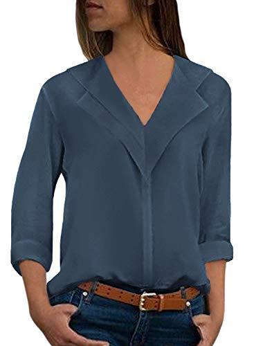 Donna Camicetta Blusa Chiffon Elegante Camicia con Scollo V Cerniera Manica Regolabile Maglietta Top Blu Pavone IT 38
