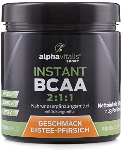 Instant BCAA Pulver mit leckerem Geschmack - 100% vegan - essentielle Aminosäuren (Eistee Pfirsich)