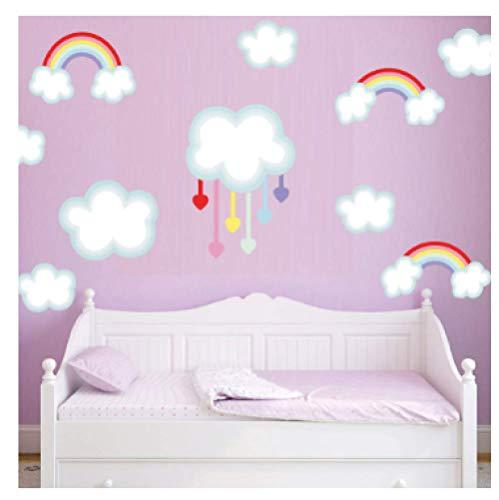Pegatina de pared de vinilo con diseño de nube de arcoíris para la habitación de los niños, extraíble, diseño de dibujos animados, decoración del hogar