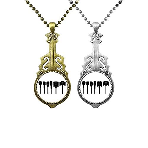 Schwarzes Muster für Kabel laden Liebhaber Musik Gitarre Anhänger Schmuck Halskette Anhänger